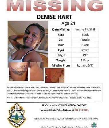 Denise Hart missing person flyer.