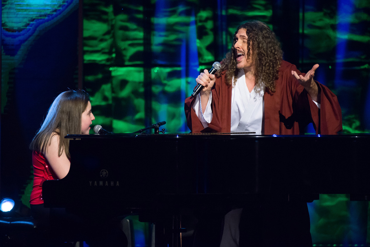 "Jodi DiPiazza and Weird Al"" Yankovic appear onstage at Comedy Central's ""Night of Too Many Stars: America Comes Together for"