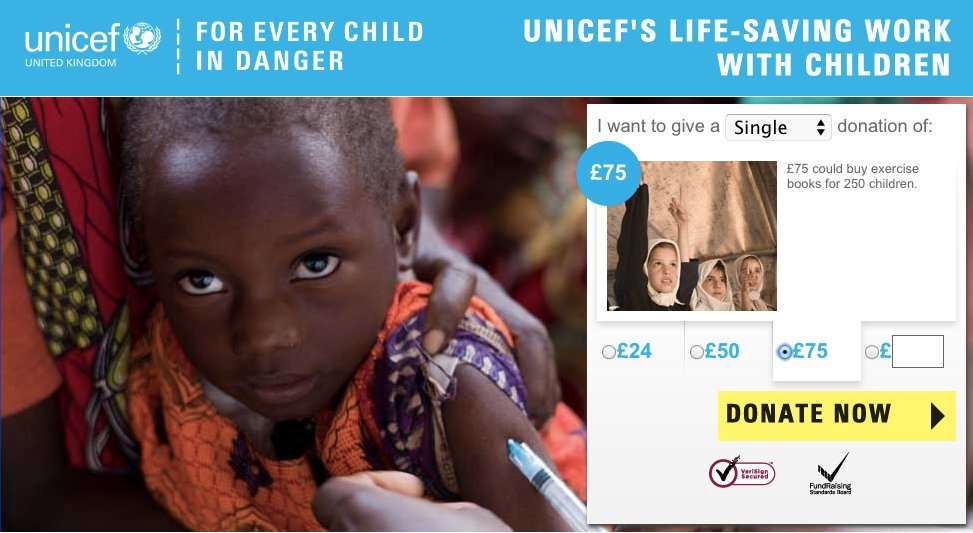 """£8,000 could buy exercises books for 26,500 children. <a href=""""http://www.unicef.org.uk/landing-pages/donate-unicef-charity/"""""""
