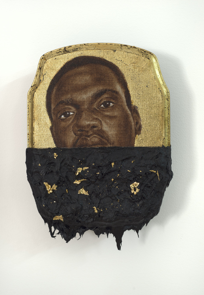 Jerome I, 2014 oil, gold leaf and tar on wood panel 10 x 7 x 1 inches © Titus Kaphar. Courtesy of the artist and Jack Shainma