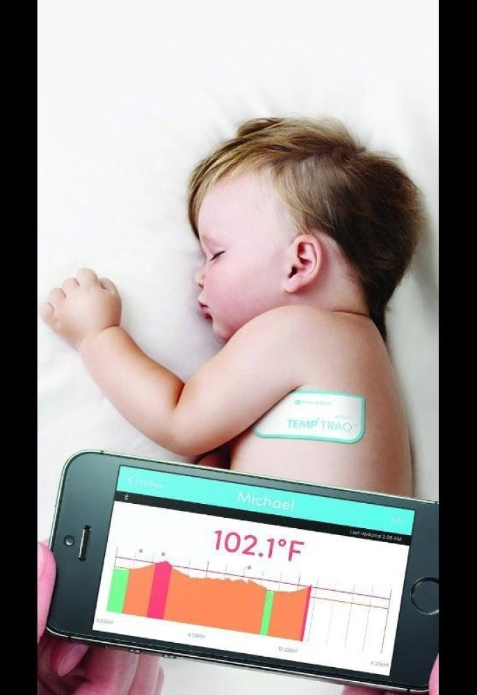 Launched at this year's CES show, TempTraq looks like a Band-Aid but it's really a continuously reading thermometer that comm