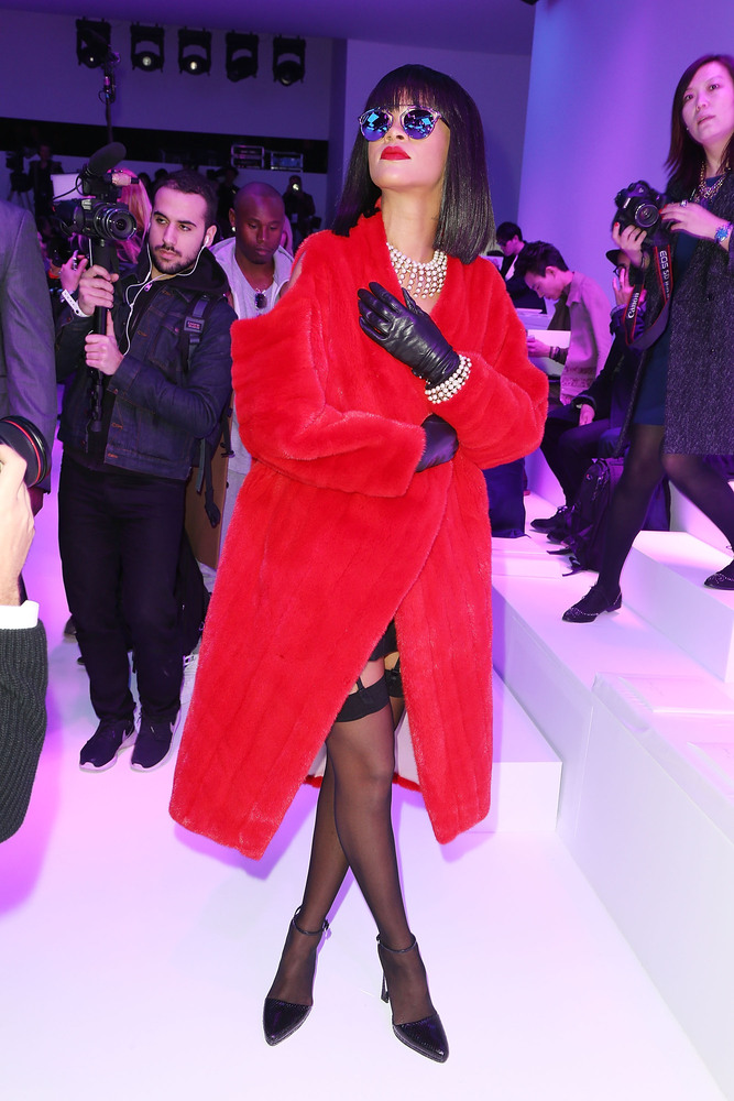 Lady in red at Dior's Fall 2015 show during Paris Fashion Week.
