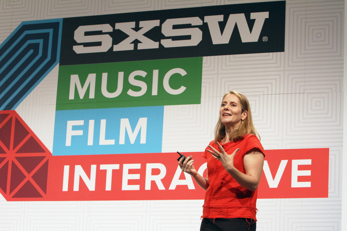 AUSTIN, TX - MARCH 13:  Paola Antonelli, Senior Curator, The Museum of Modern Art speaks onstage at 'Curious Bridges: How Des