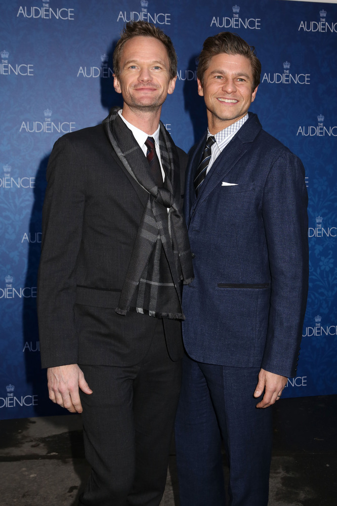 """Neil Patrick Harris, left, and David Burtka attend the Broadway opening night of """"The Audience"""" at The Gerald Schoenfeld Thea"""