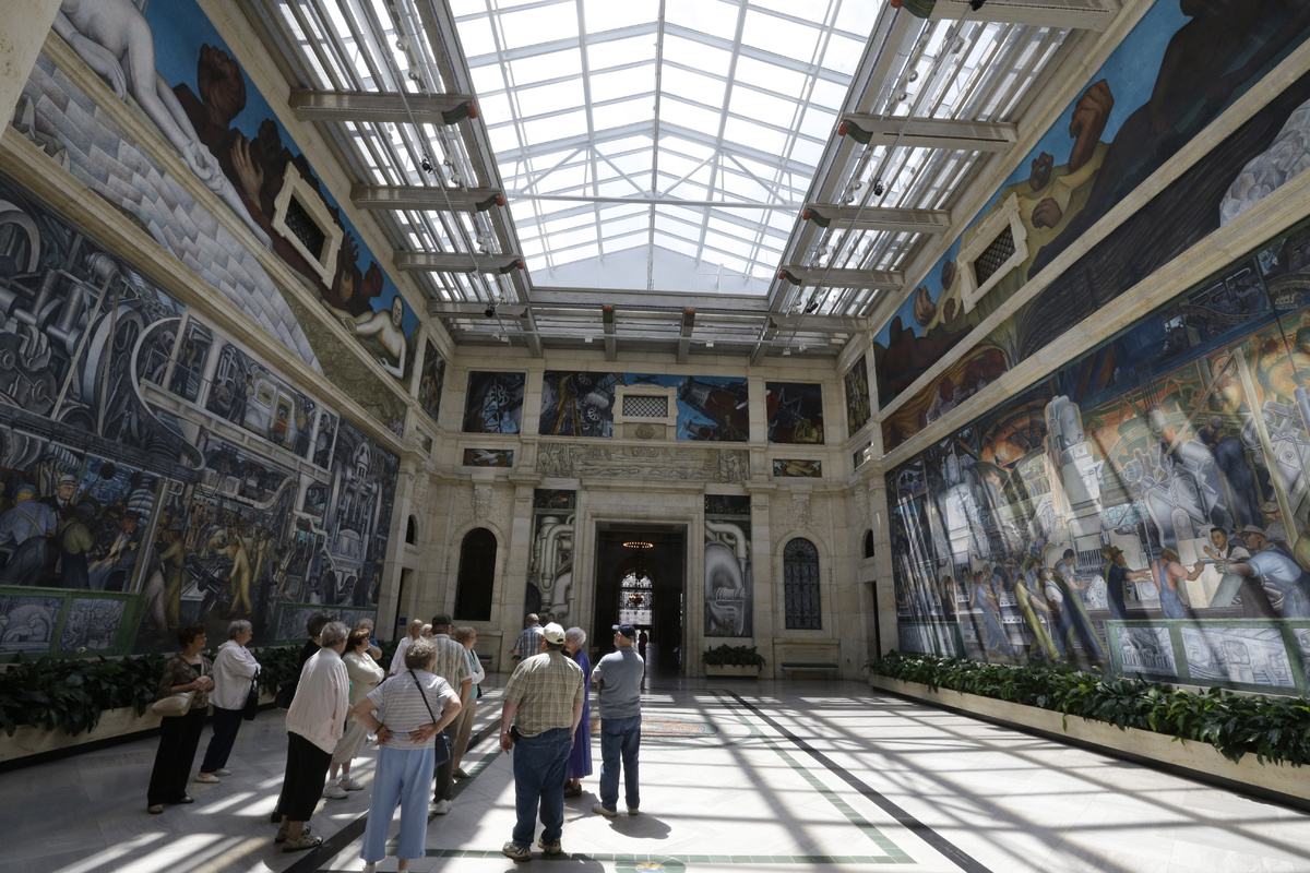 """In a June 13, 2013 photo, the """"Detroit Industry"""" fresco by Mexican muralist Diego Rivera is seen at the Detroit Institute of"""