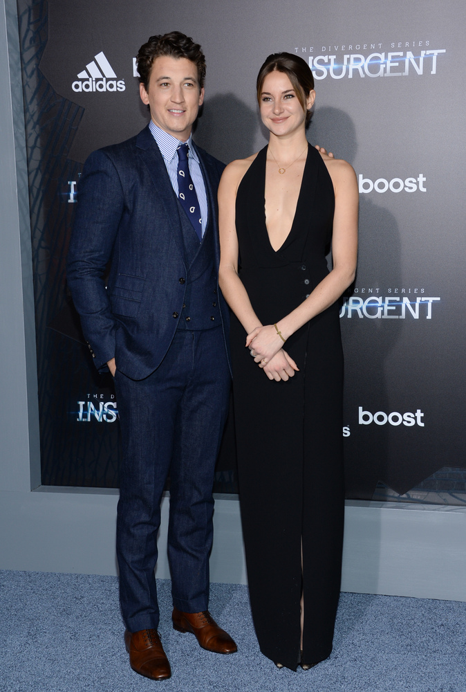 """Actors Miles Teller and Shailene Woodley attend the premiere of """"The Divergent Series: Insurgent"""" at the Ziegfeld Theatre on"""