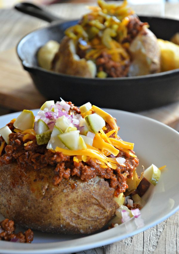 8 Slow Cooker Turkey Sloppy Joe Stuffed Baked Potatoes