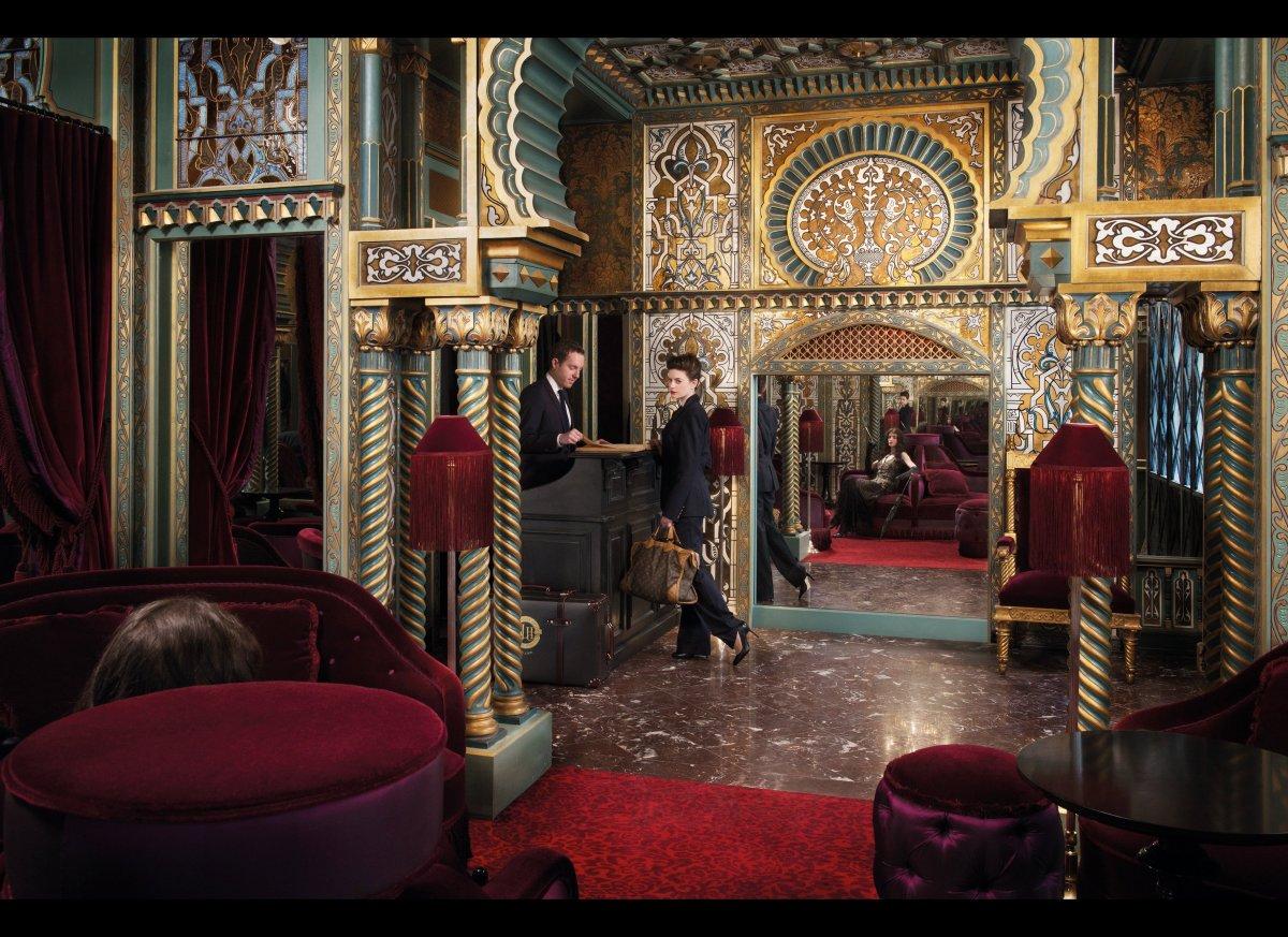 The lobby's Moorish archways and stained-glass windows. <em>Photo: Eric Antoine</em>