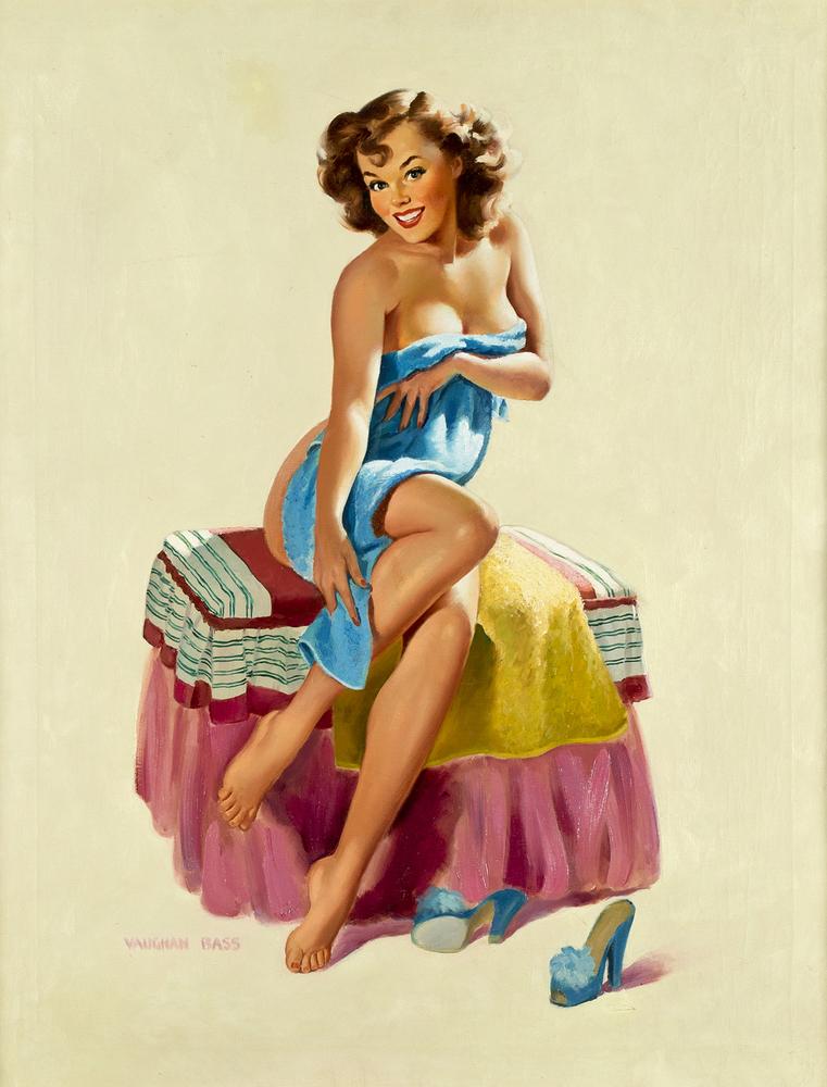 Vaughan Alden Bass, Sugar N' Spice (Towel Girl) Oil on Canvas