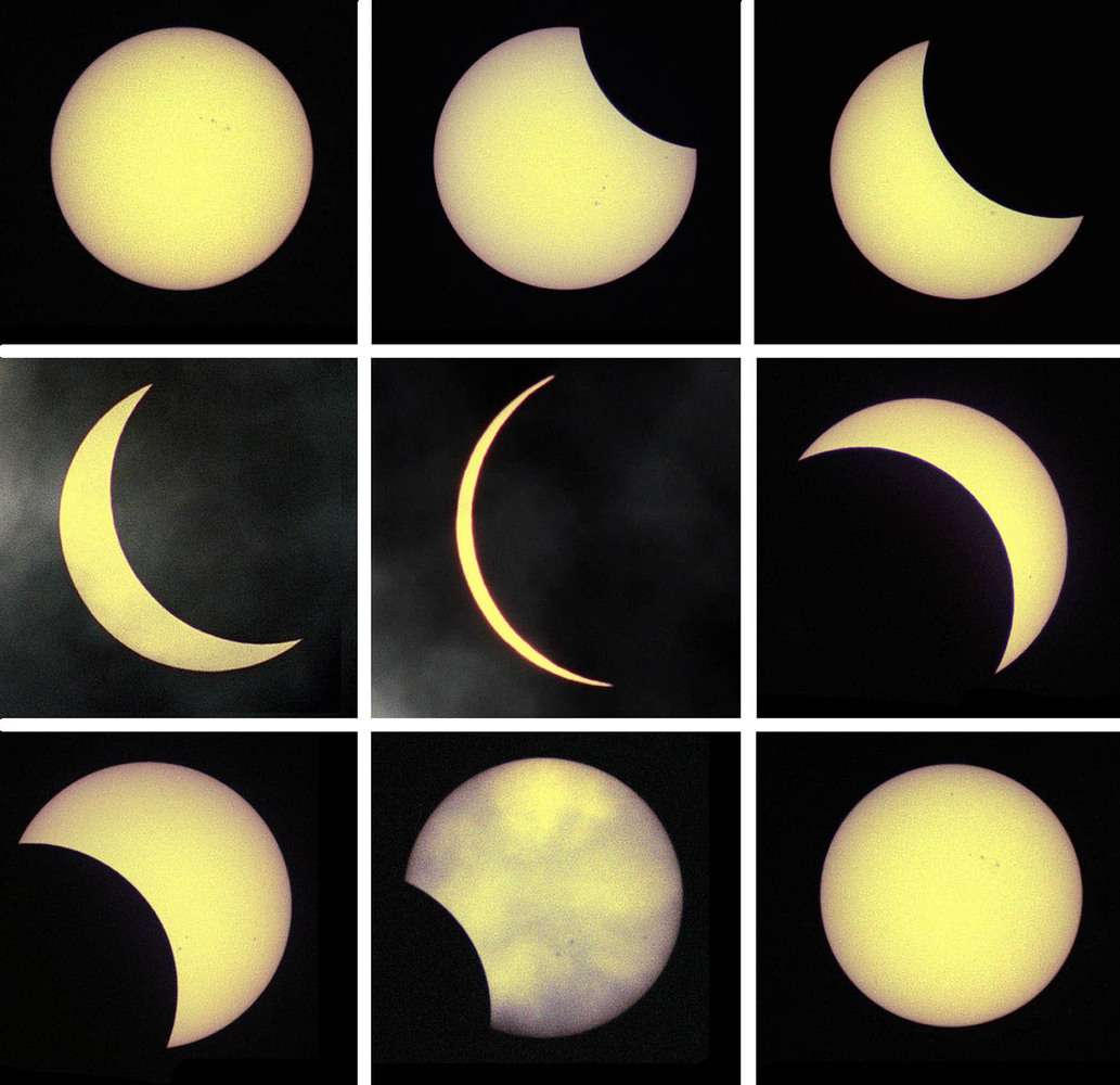 File photo dated 11/08/1999 of the last solar eclipse (chronologically top left - bottom right), seen from London, as rush-ho