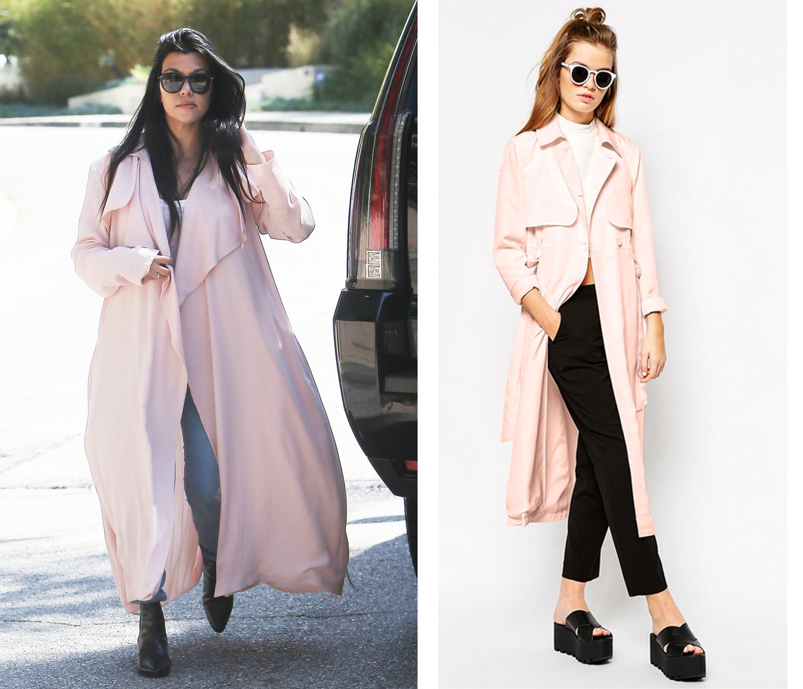 """<a href=""""http://us.asos.com/First-I/First-I-Trench-Coat/Prod/pgeproduct.aspx?iid=4874469"""" target=""""_blank"""">First & I Trench Co"""