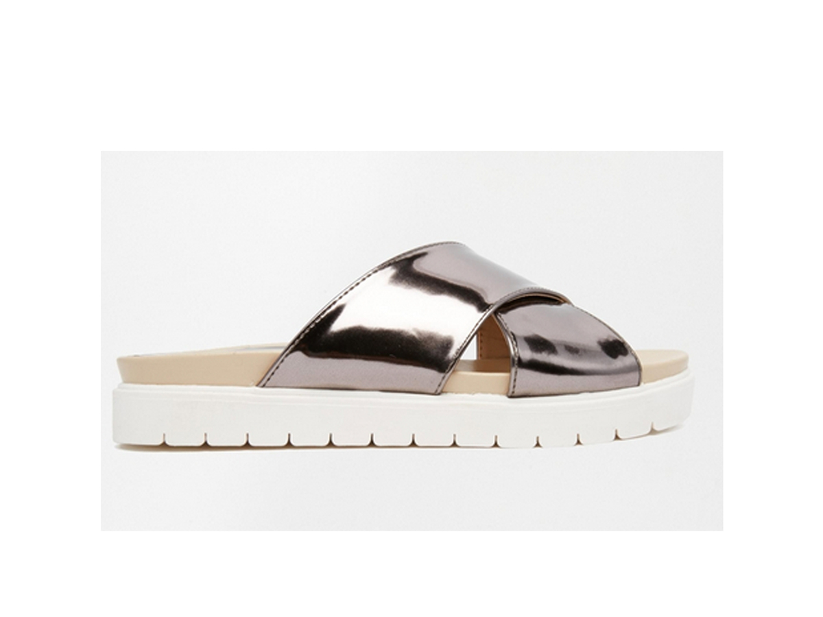 "<a href=""http://us.asos.com/Glamorous-Silver-Cross-Strap-Slider-Sandals/14shk6/?iid=4770905&clr=Pewter&SearchQuery=sliders&pg"