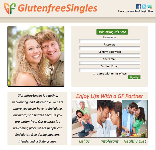 "Tired of meeting people who don't share the gluten-free lifestyle you lead? Then <a href=""http://www.glutenfreesingles.com/"""