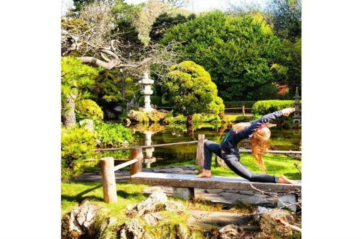 Green and overflowing with life, this lush garden makes for a perfect place to practice yoga. Hamers captioned this photo wit