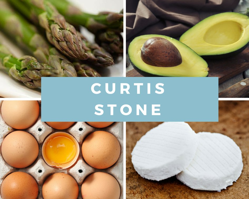 "<strong>Curtis Stone's four foods: </strong>asparagus, avocado, eggs, goat cheese <br><strong>Why he chose them:</strong> ""Li"