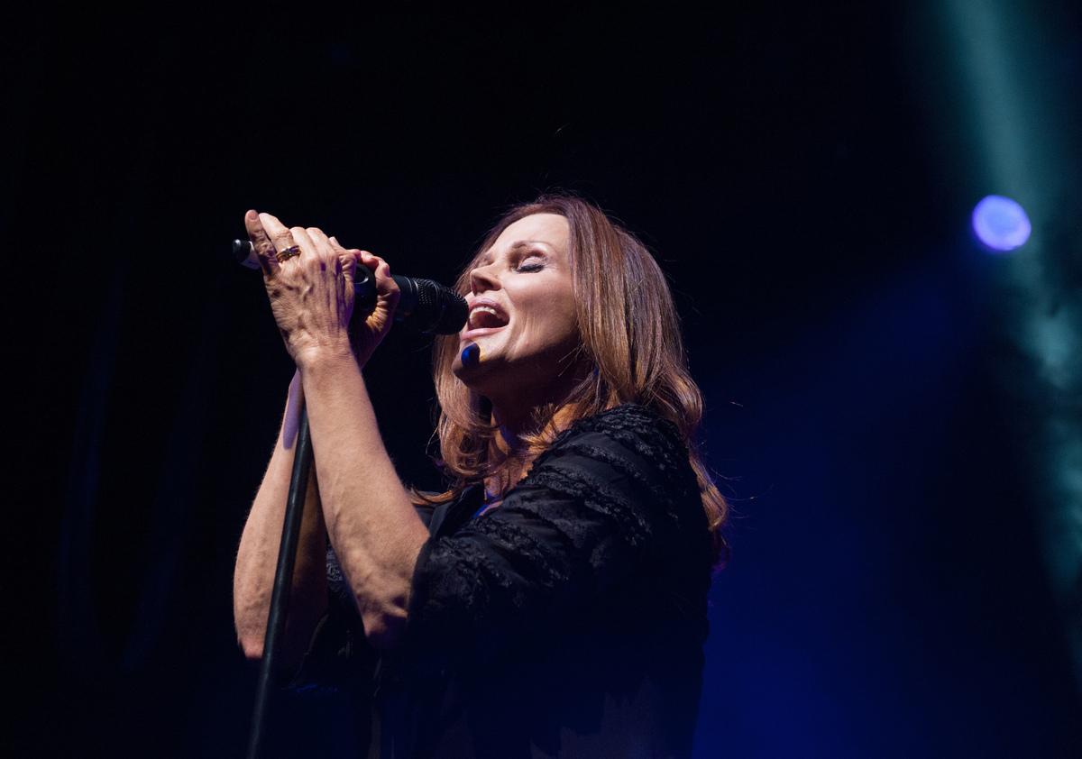 LONDON, UNITED KINGDOM - MAY 17: Belinda Carlisle performs on stage at Indigo2 on May 17, 2014 in London, England.  (Photo by