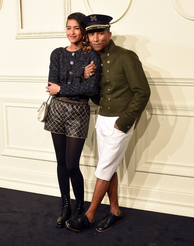 Pharrell Williams and his wife, Helen Lasichanh arrive  as CHANEL present their Paris-Salzburg 2014/15 Metiers dArt Collectio