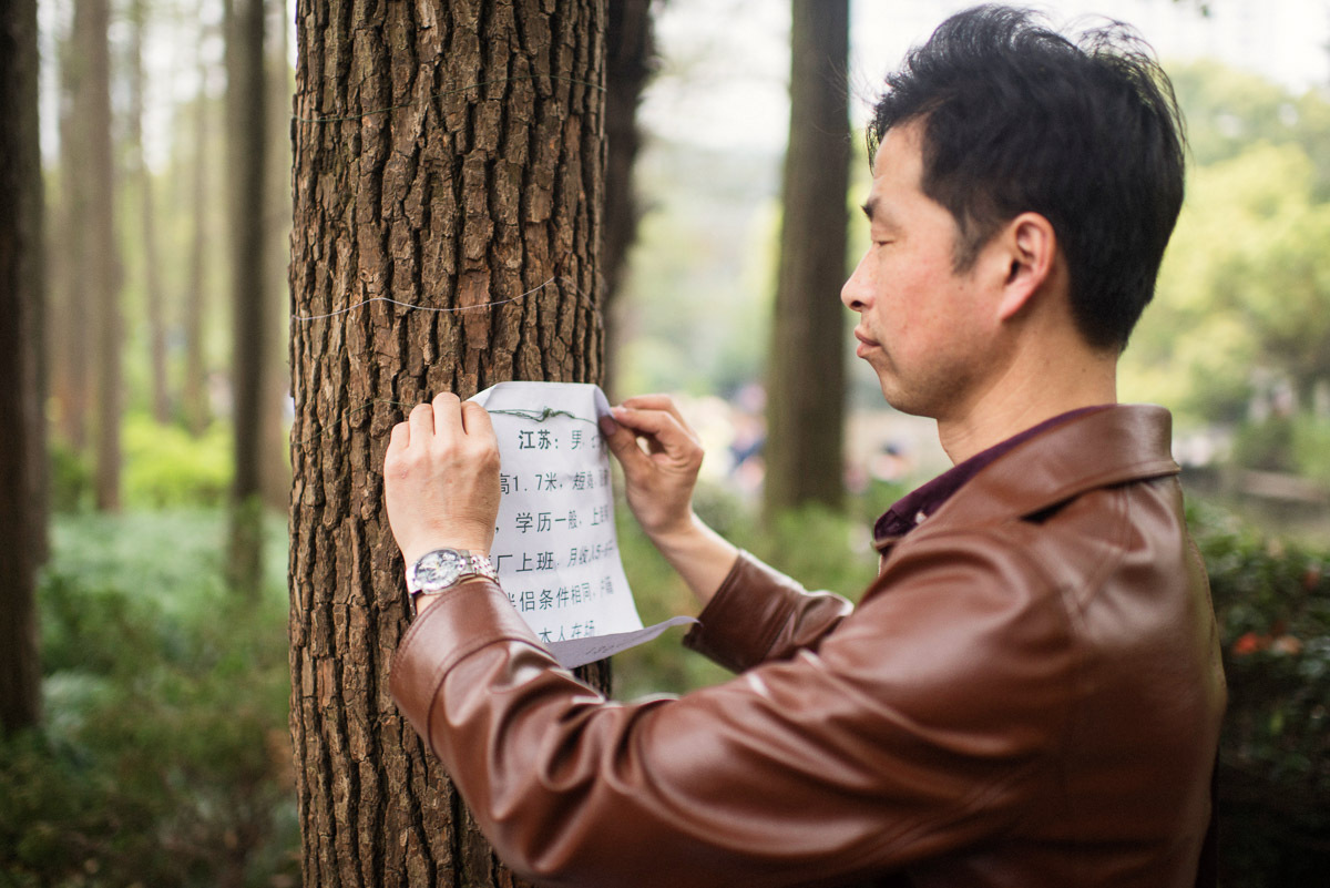 A man ties a personal ad to a tree at the Shanghai marriage market