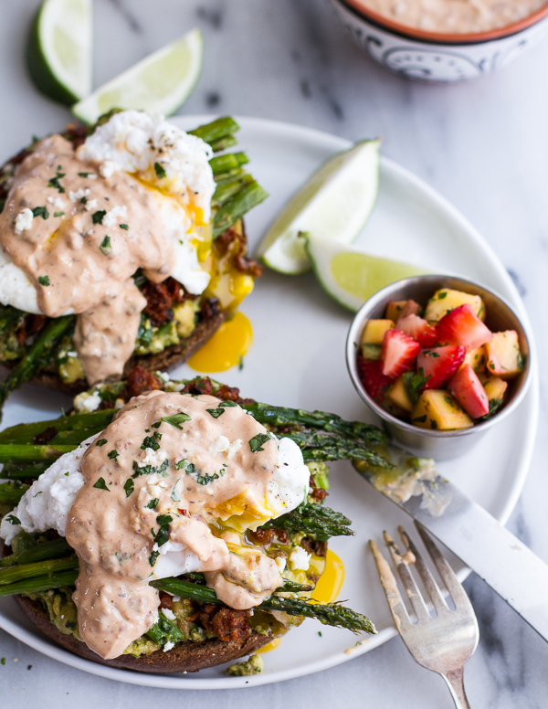 "<strong>Get the <a href=""http://www.halfbakedharvest.com/cotija-guacamole-chorizo-eggs-benedict-honey-chipotle-lime-sauce/"" t"