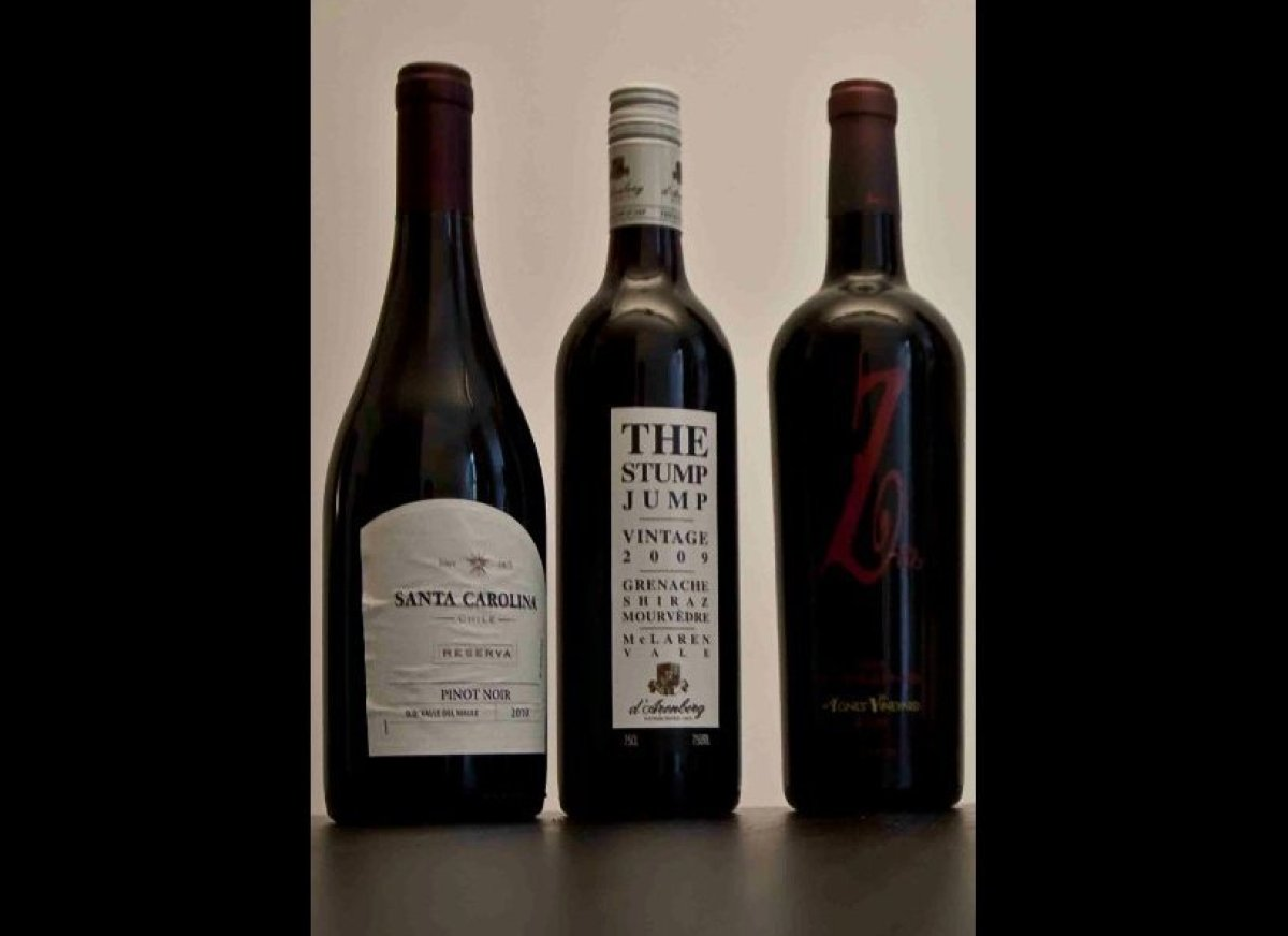 As always, I chose three reds to represent different styles of wines. The pairings that follow should be good with any wines