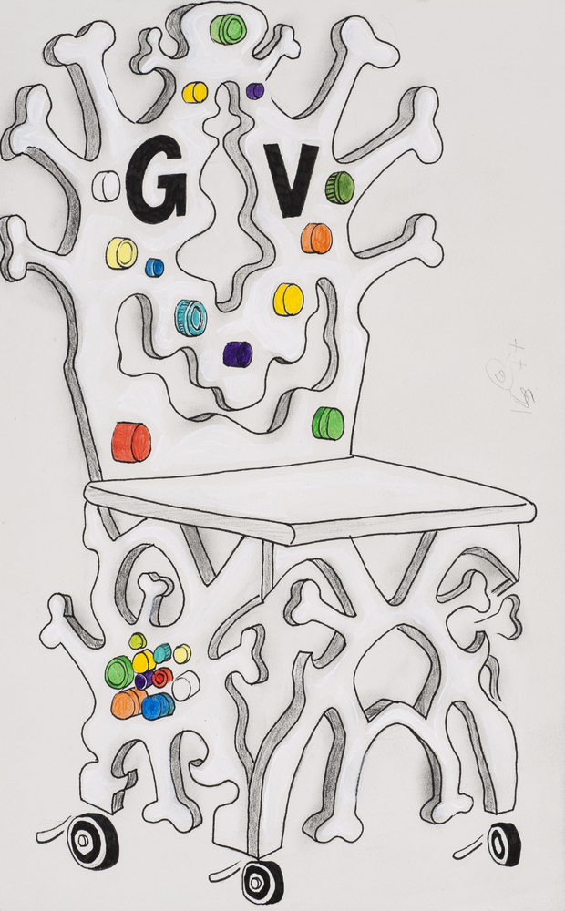 Bone Throne, 2006 Ink and acrylic on paper 9 × 5 inches Courtesy the artist, James Cohan Gallery, New York, and Hales Gallery