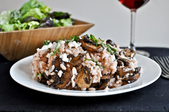 """<strong>Get the <a href=""""http://www.howsweeteats.com/2011/12/red-wine-goat-cheese-risotto-with-caramelized-mushrooms/"""">Red Wi"""