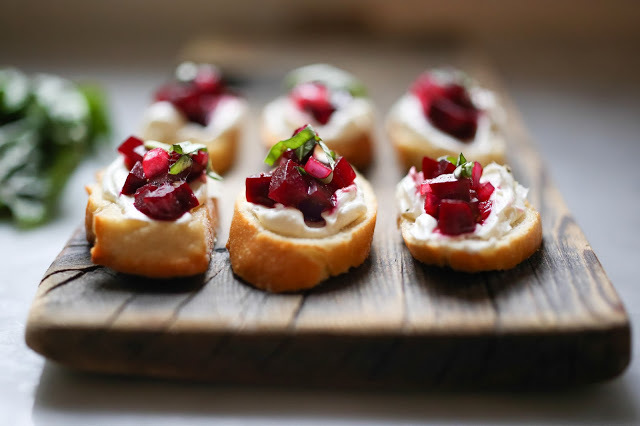 """<strong>Get the <a href=""""http://www.feastingathome.com/2013/12/beet-bruschetta-with-goat-cheese-and.html"""" target=""""_blank"""">Bee"""