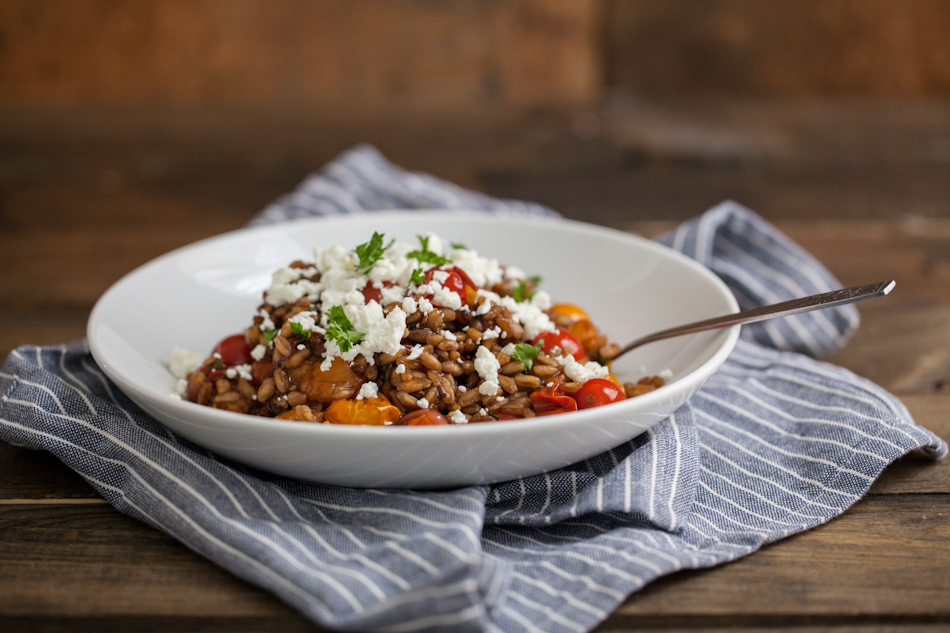 """<strong>Get the <a href=""""http://naturallyella.com/2013/09/29/herbed-burst-tomatoes-goat-cheese-and-farro-patio-garden-update/"""