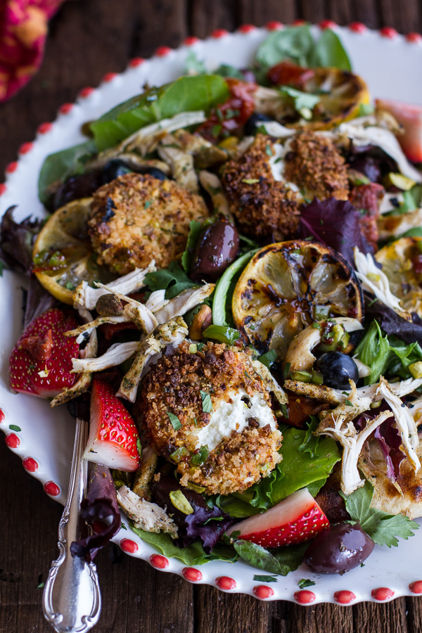 """<strong>Get the <a href=""""http://www.halfbakedharvest.com/moroccan-chicken-salad-pistachio-crusted-fried-goat-cheese-garlic-na"""