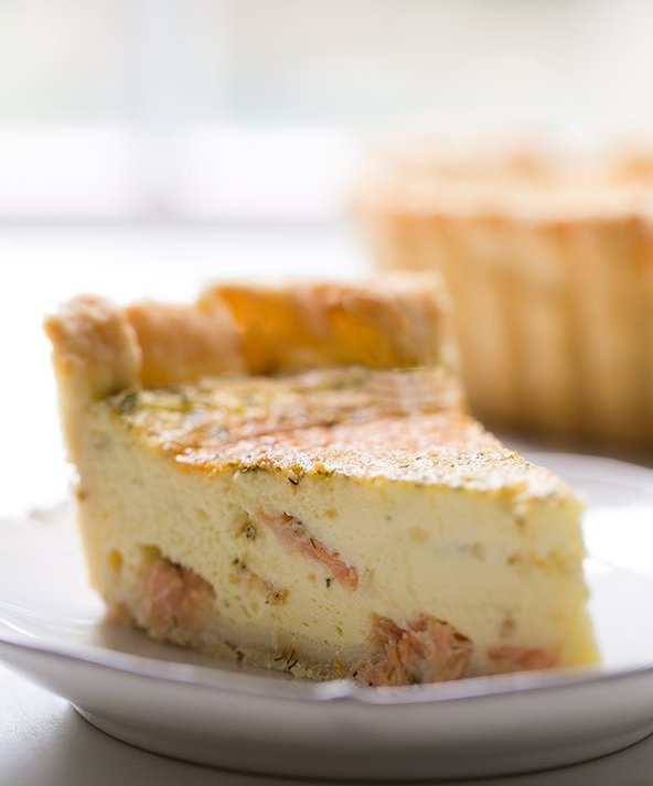 """<strong>Get the <a href=""""http://www.simplyrecipes.com/recipes/smoked_salmon_dill_and_goat_cheese_quiche/"""" target=""""_blank"""">Smo"""