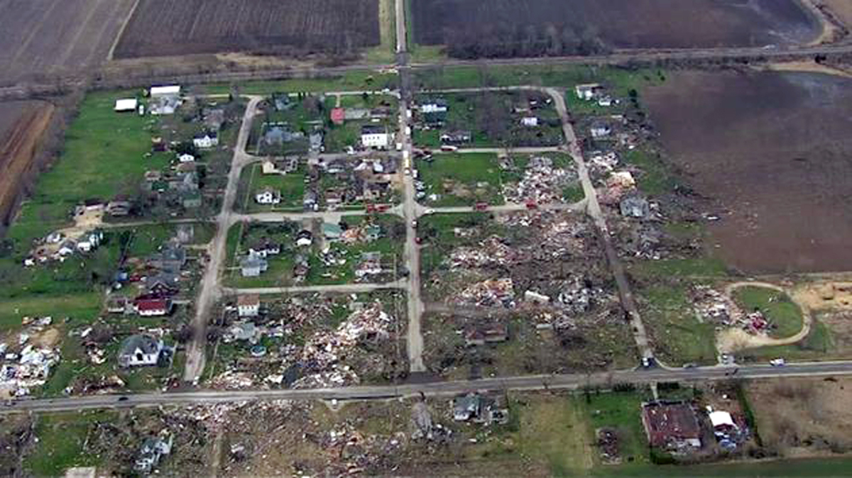 This Friday, April 10, 2015 aerial image made from video provided by ABC 7 Chicago (WLS-TV) over Fairdale, Ill., shows damage