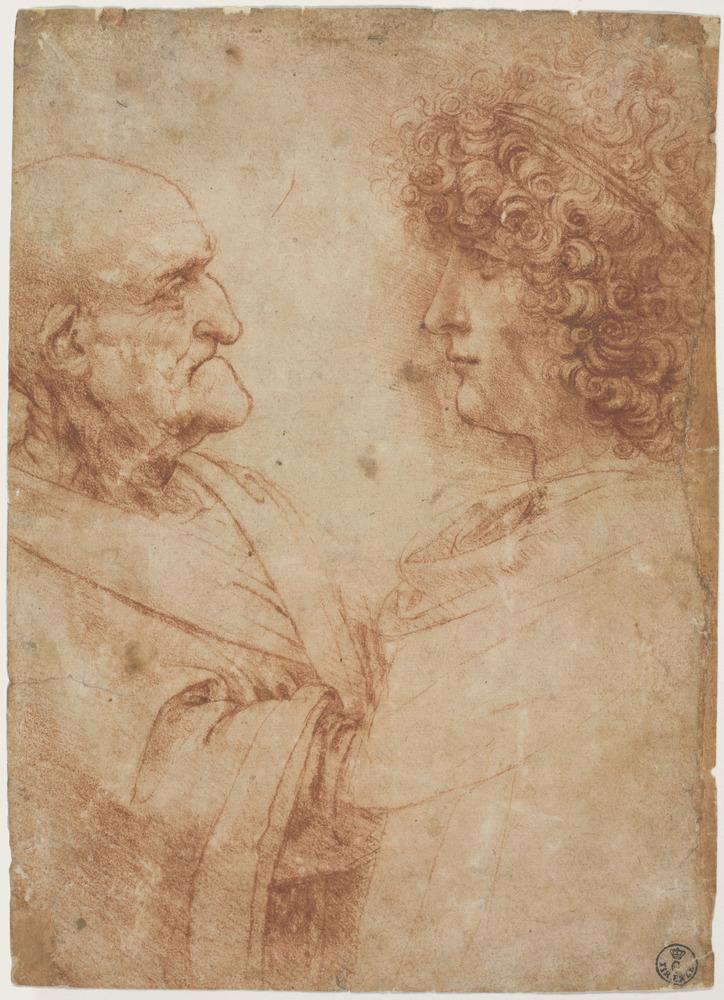 """An Old Man and a Youth Facing One Another,"" circa 1500-1505, Leonardo da Vinci."