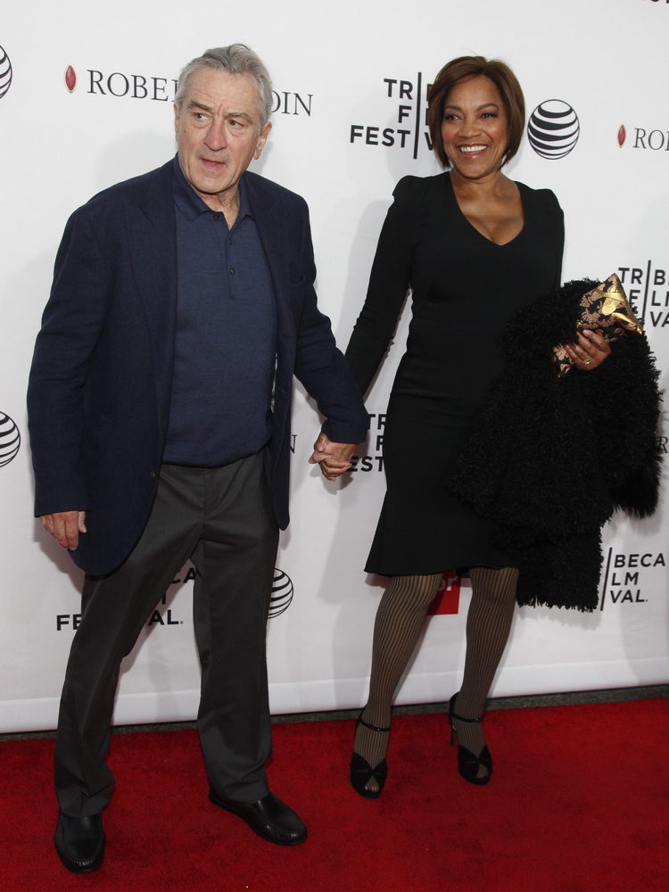 "Robert De Niro, left, and Grace Hightower, right, attend a Tribeca Film Festival closing night special screening of ""Goodfell"