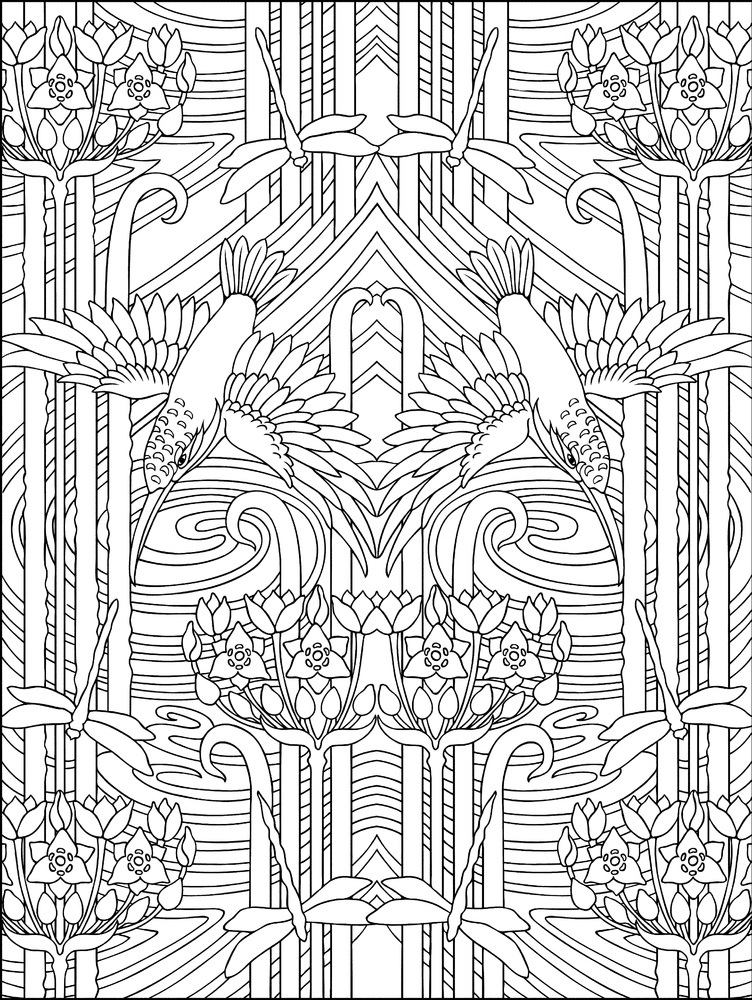 thirty one elegant designs adapted from the works of verneuil mucha and other art nouveau masters features patterns inspired by swans peacocks and other - Coloring Book Patterns
