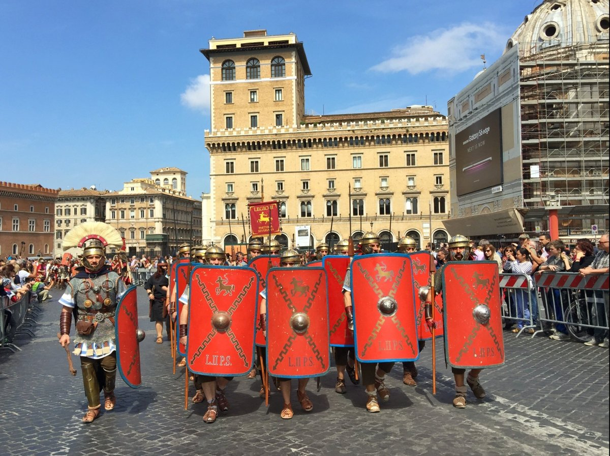 Hundreds marched through Rome in celebration of the city's April 21, 753 BC founding.  Legions of legions took to showing off