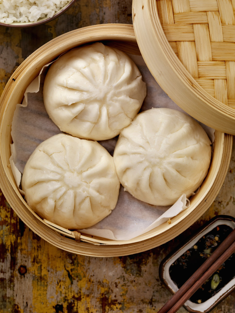 These Cantonese steamed buns are traditionally served as dim sum. The dough is fluffy and chewy, and usually filled with barb