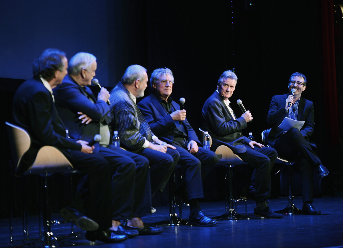 Eric Idle, John Cleese, Terry Gilliam, Terry Jones, Michael Palin and moderator John Oliver speak at the panel discussion at