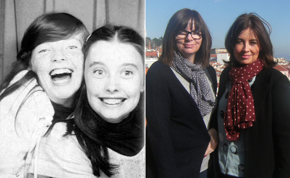 """""""The first photo booth image is when we were 11 years old -- we're now both 51 years old.  We've actually been best friends s"""