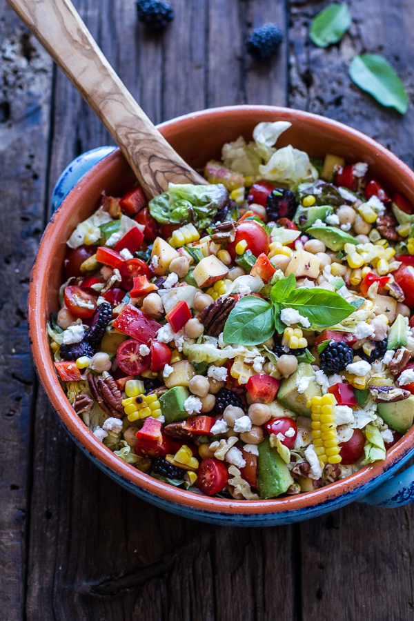 """<strong>Get the <a href=""""http://www.halfbakedharvest.com/easy-summer-herb-chickpea-chopped-salad-goat-cheese/"""" target=""""_blank"""
