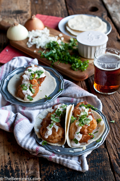 """<strong>Get the<a href=""""http://thebeeroness.com/2014/03/21/beer-battered-shrimp-tacos-chipotle-lime-crema/"""" target=""""_blank"""">"""