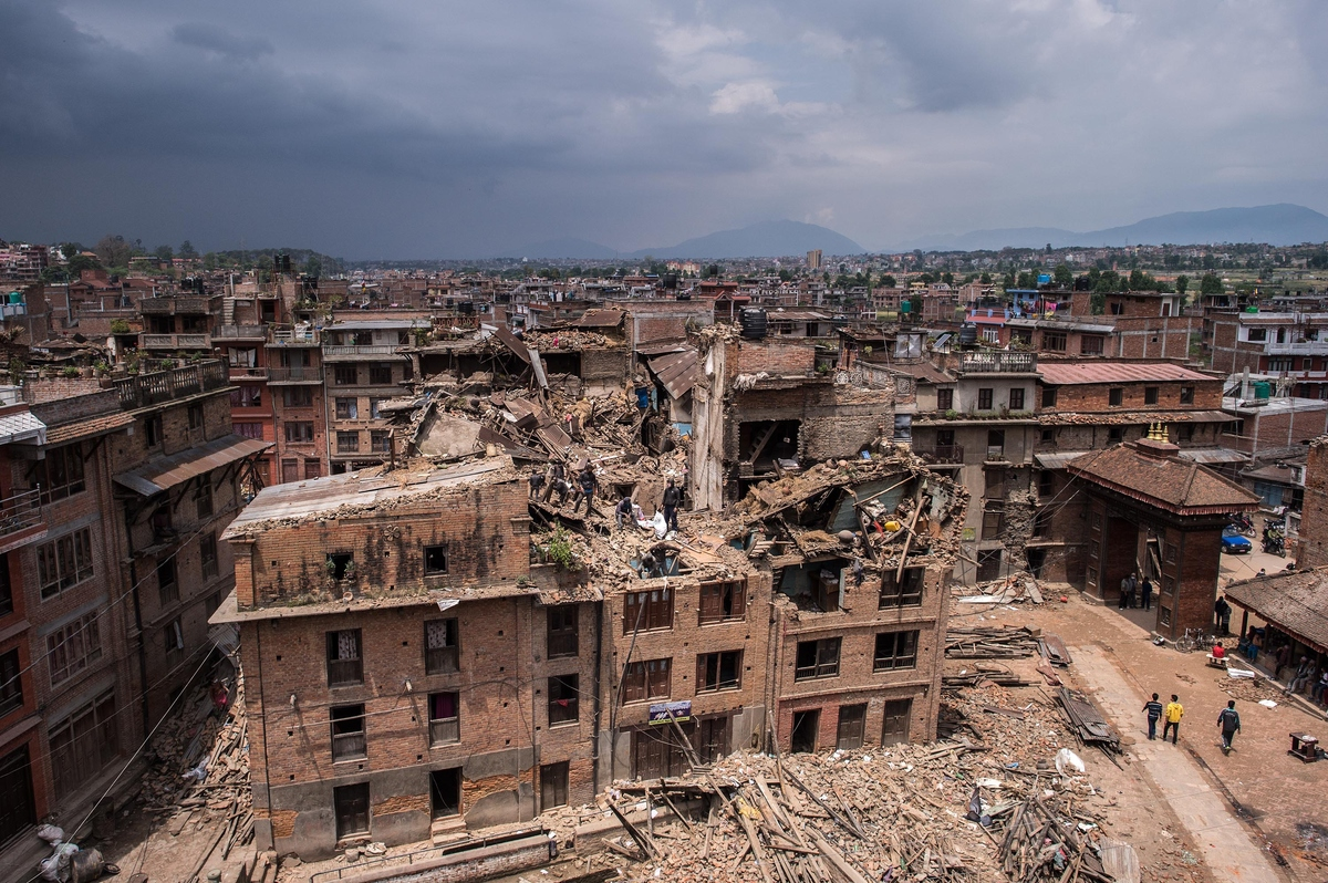 BHAKTAPUR, NEPAL - APRIL 29:  A general view of damaged buildings as Nepalese victims of the earthquake search for their belo