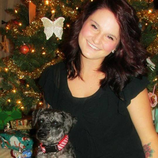 Abbey and her dog.