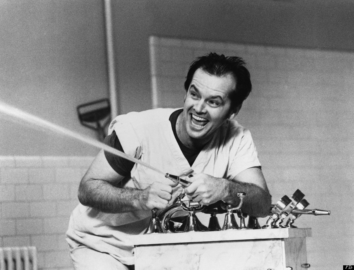 "Actor Jack Nicholson shown in a Feb. 1976 file photo in a scene from <em> <a href=""http://en.wikipedia.org/wiki/One_Flew_Over"