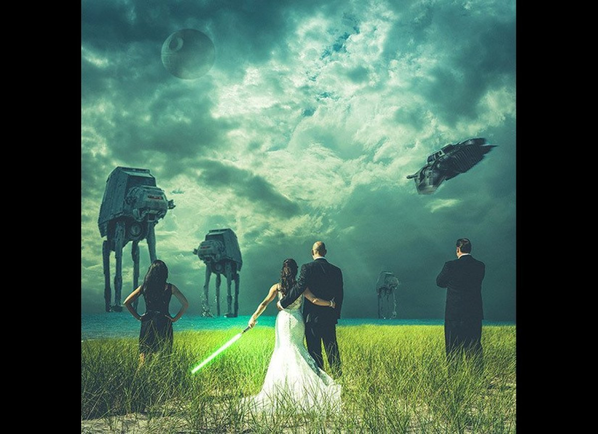 John and Mindy Doychich battle the Death Star and AT-ATs in this surreal shot, thanks to a little magic we like to call Photo