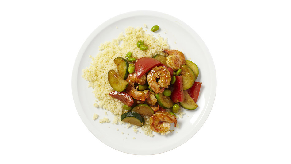 Edamame, bell pepper and zucchini go especially well with curry. Yet while you'd expect to eat them over rice, this dish uses