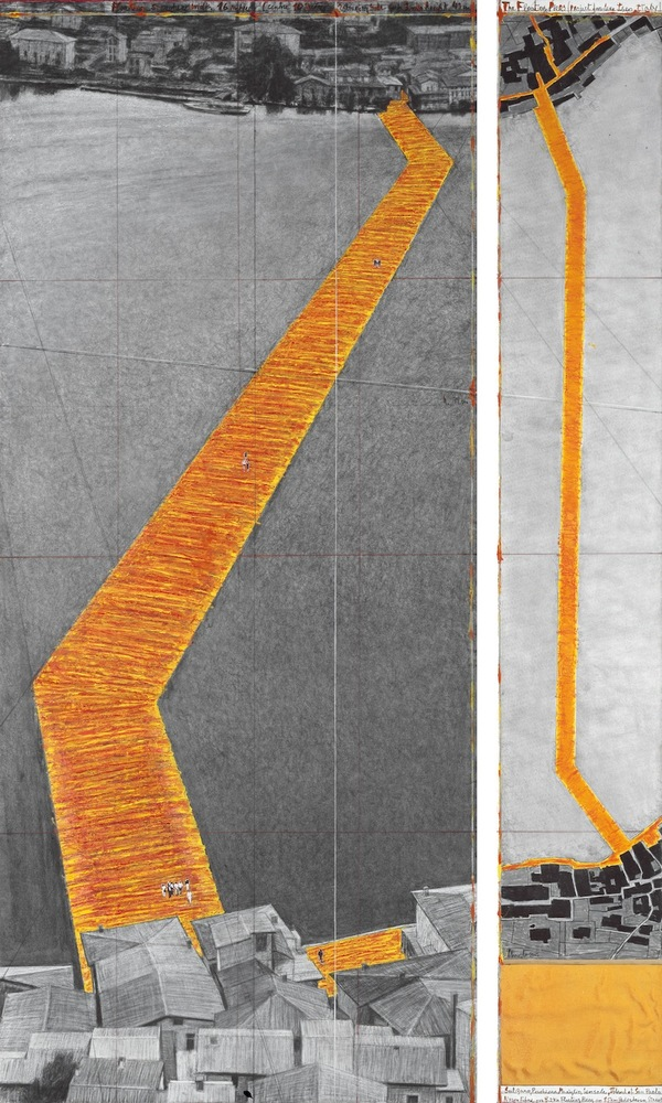 "The Floating Piers (Project for Lake Iseo, Italy) Drawing 2015 in two parts 96 x 42"" and 96 x 15"" (244 x 106.6 cm and 244 x 3"