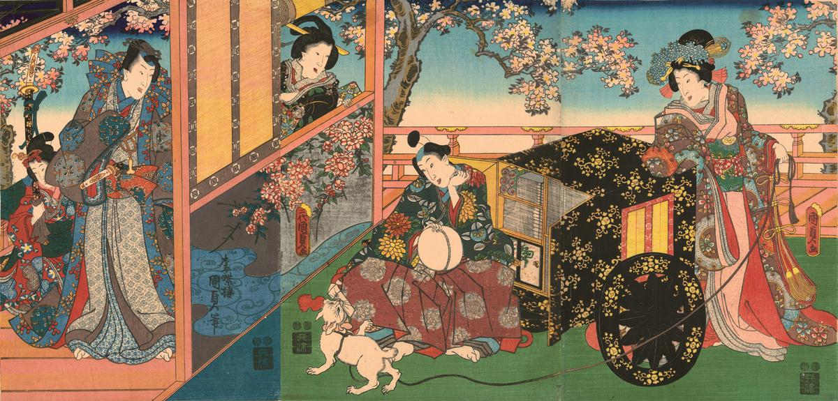 Utagawa Kunisada II (1823–1880), Kashiwagi from the series The False Murasaki's Rustic Genji, 1848–54. Color woodblock print;