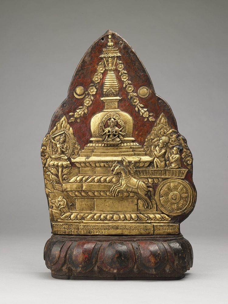 This gilded plaque depicts a special birthday celebration common to the Kathmandu Valley known as the Chariot Ritual. Practic