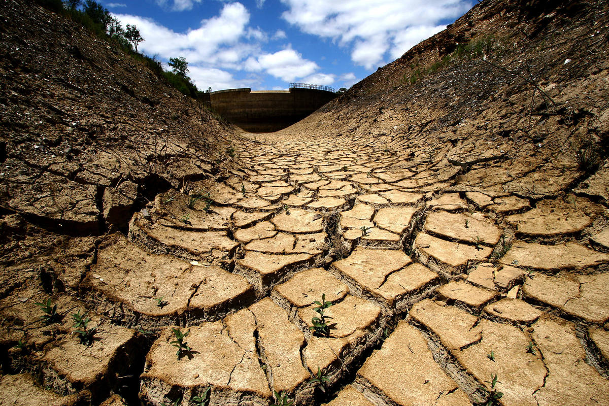 The dried dam of Pereiras, 275 kilometers south of Lisbon, Portugal, is seen on June 24, 2005. The worst drought in Spain and