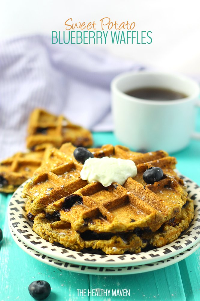 """<strong>Get the <a href=""""http://www.thehealthymaven.com/2015/05/sweet-potato-blueberry-waffles.html"""" target=""""_blank"""">Sweet Po"""